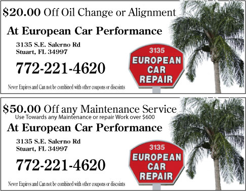 Get your European Car Repair Monthly Coupon's for Discounts on Services